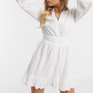 Missguided broderie frill hem dress in white